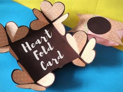 Heart Pop Up Card | Heart Napkin Fold Card | Handmade Gift.Card Idea for Father's Day