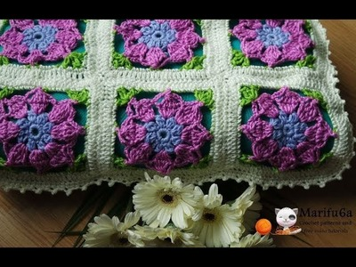 How to crochet easy blanket afghan with flowers pattern by marifu6a