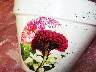How to Decoupage and weatherproof A Terra Cotta Pot 2019!