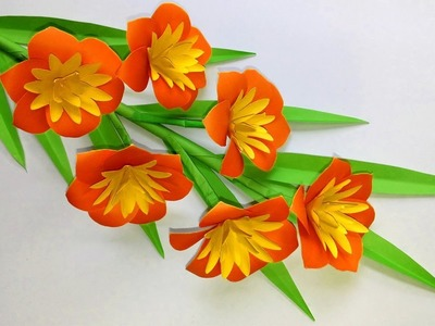 How to Make Beautiful Stick Flower with Paper -  Paper Flower Making Step by Step