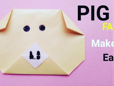 How to make origami pig face - paper piggi face easy