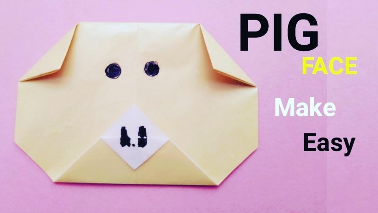How to make origami pig face - paper piggi face easy