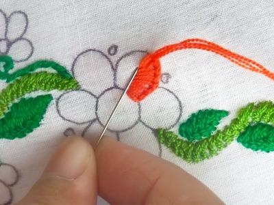 Latest designs hand embroidery for dress, easy hand stitch tutorial,herringbone stitch
