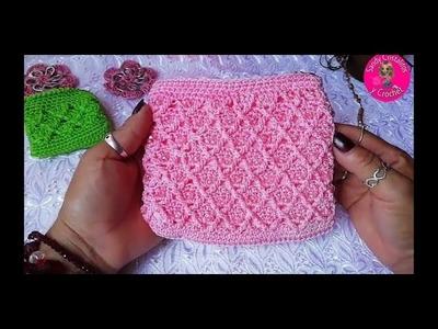 Monedero a crochet Punto Rombos con relieves♦️♦️