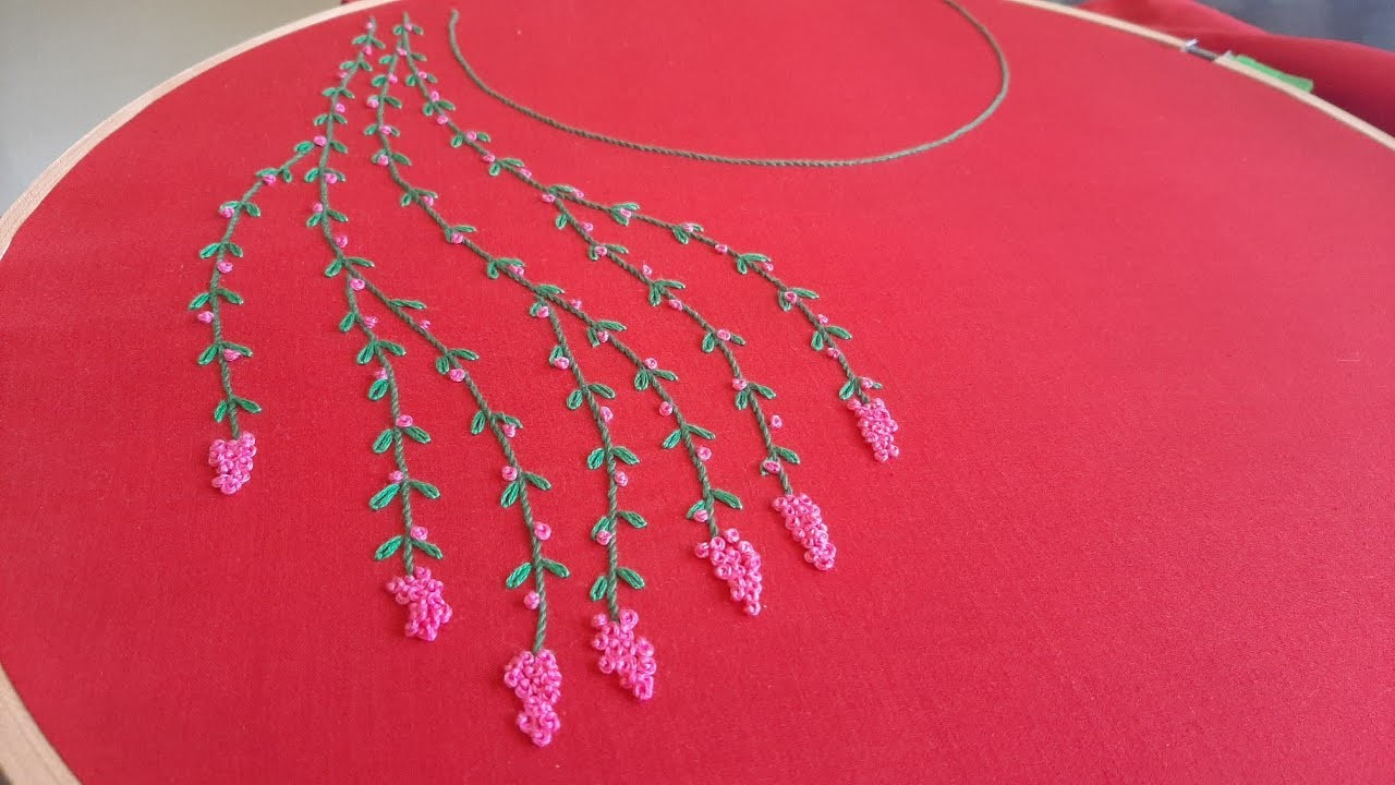 Neckline Embroidery for Kurti.Dress.Tunic (Hand Embroidery Work)