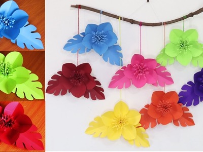 Paper flower wall hanging - DIY Easy wall decoration ideas