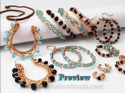 Preview 3 Strand Braid jewelry set from copper wire and small crystal 484