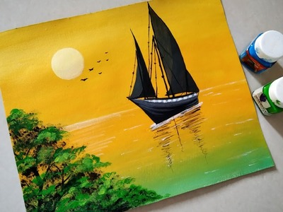 Sailboat sunset seascape acrylic painting| Simple acrylic sunset painting tutorial for beginners.