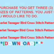 Unique Hand Made pdf Sewing Dmc Crafts ScarLet Tanager Bird Cross Stitch Pattern***LOOK***