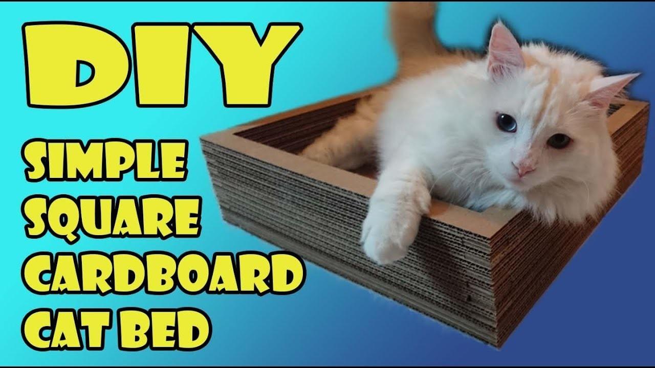 Simple DIY Square Cardboard Cat Bed