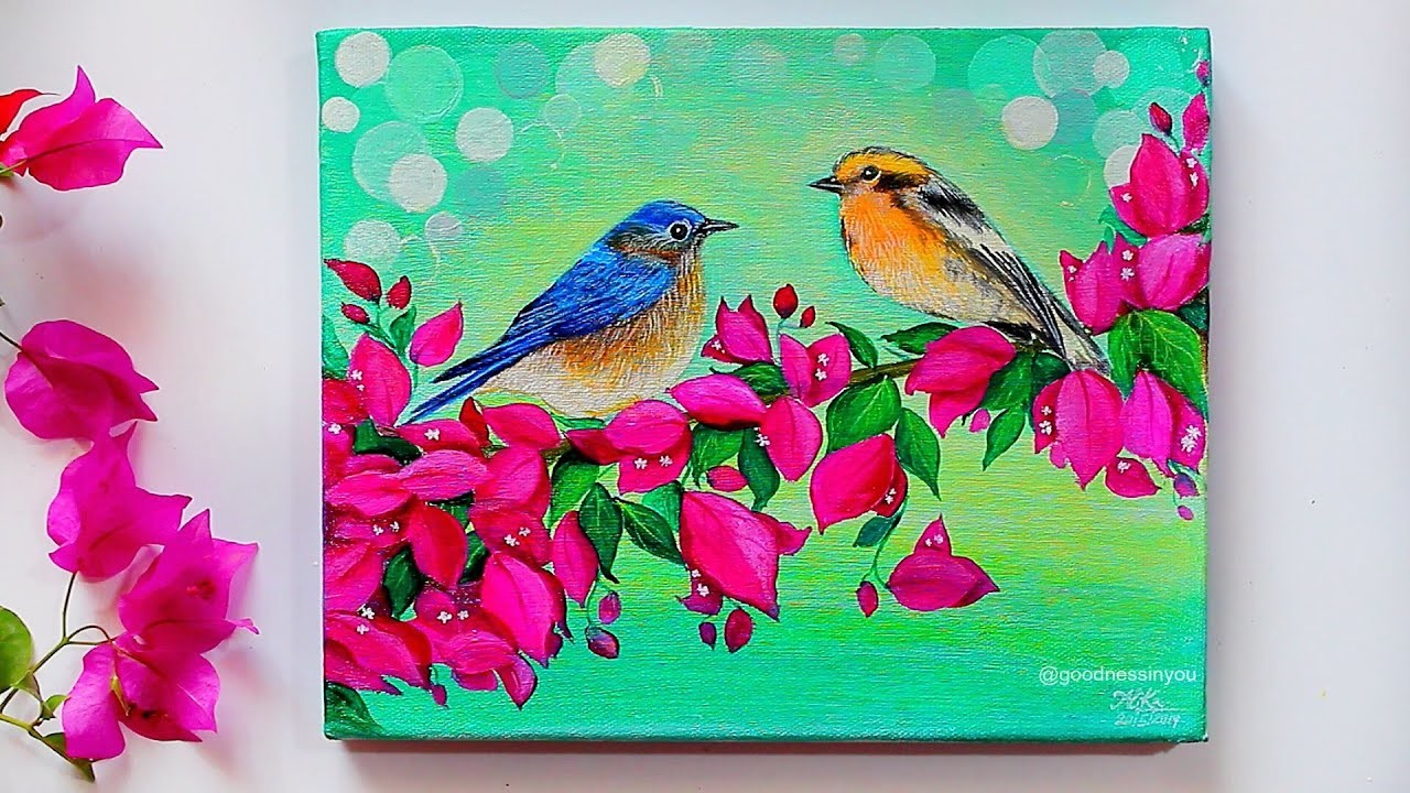 STEP By STEP Birds Painting for Beginners and Tips on Acrylic Painting