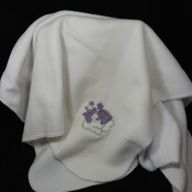 White Anti-Pill Fleece Baby Blanket With An Embroidered Picture - Free Shipping