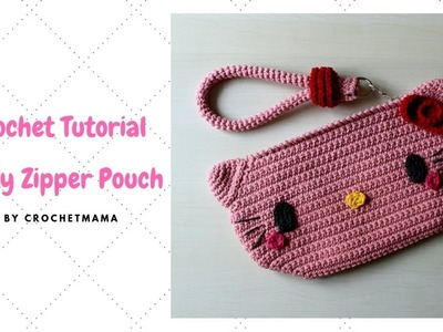 Crochet Kitty Cat Zipper Pouch Tutorial & Pattern