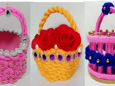 DIY 3 EASY WOOLE FLOWER BASKET OUT OF WASTE.WOOLEN CRAFT IDEA.OON SE BANAYE NEW DECORATION