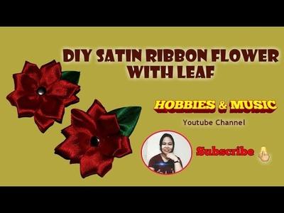 DIY Satin Ribbon Flower with Leaf | Easy DIY