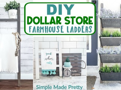 DOLLAR Store DIY Farmhouse Ladders - DIY Farmhouse Ladder - Tea Towel Ladder - Blanket Ladder DIY