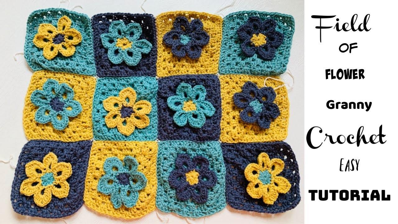 Field of Flower Granny square Easy Tutorial