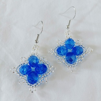 Handmade Diamond Shape Blue Crystal Glass Silver Earrings Jewellery