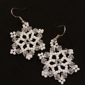 Handmade White Snowflake Earrings