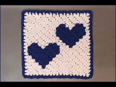 How to Crochet Tutorial: Two Hearts that beat as One - C2C Square Designed by Myhobbyiscrochet