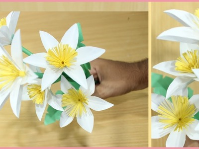 HOW TO MAKE AWESOME PAPER FLOWER STEP BY STEP - DIY PAPER FLOWER - DIY PAPER FLOWER STICK
