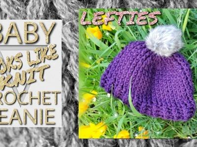 LEFTIES ◾ BABY ◾ Crochet a knit Look Beanie ◾ Tutorial ◾ Super Easy