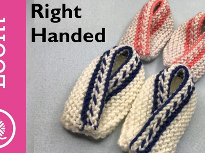 Loom Knit Two Color Baby Booties | 3 sizes (Right Handed)