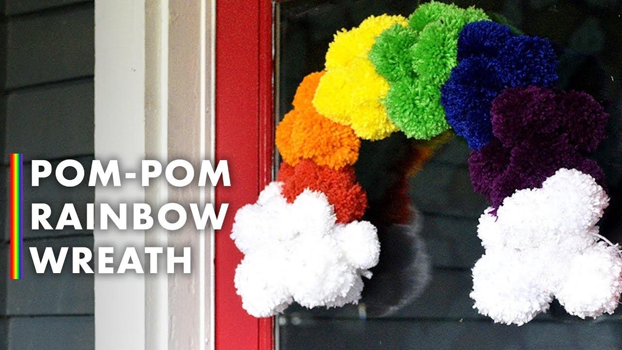 Make a Pom-Pom Rainbow Wreath - DIY Wreaths - HGTV Handmade