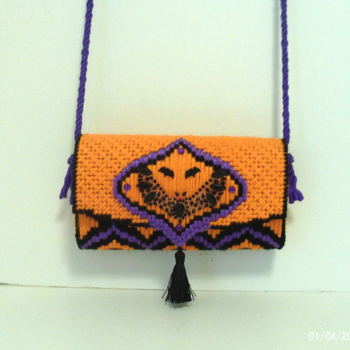 Orange,Black & Purple Halloween Bat Clutch