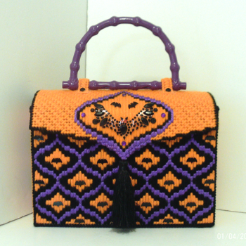 Orange,Black & Purple Halloween Handbag