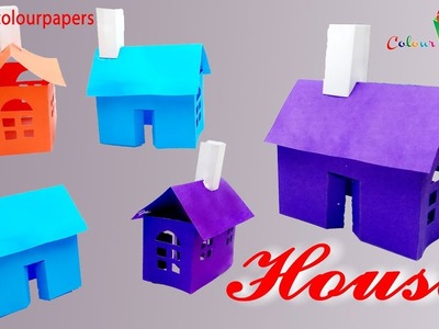 Paper house making-very easy way- best for school project work - Kids Paper Arts and Crafts