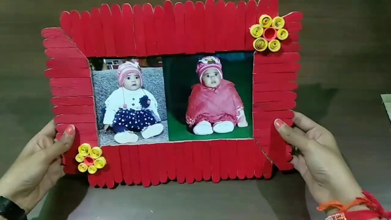 Photo frame#with ice cream sticks and quilling paper