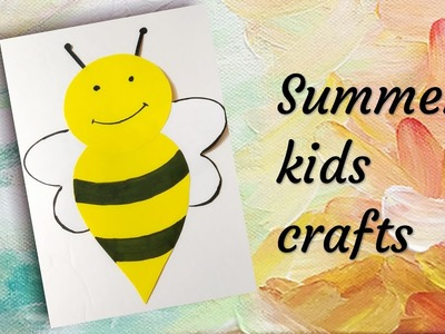 Summer kids crafts | Bee paper crafts | Paper crafts for kids | how to make honey bee with paper