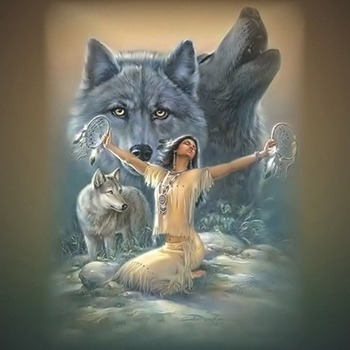WoLves Indian Maiden Cross Stitch Pattern***LOOK***