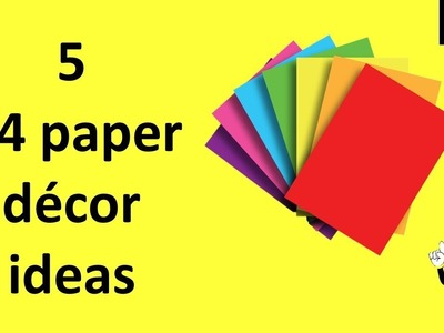 5 paper decor ideas with A4 papers | paper craft ideas for room decoration | appartment decor ideas