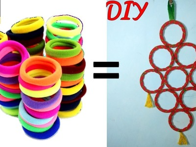 Best Out of Waste Hair Rubber Bands & Old Bangles Craft Idea || DIY arts and crafts ideas