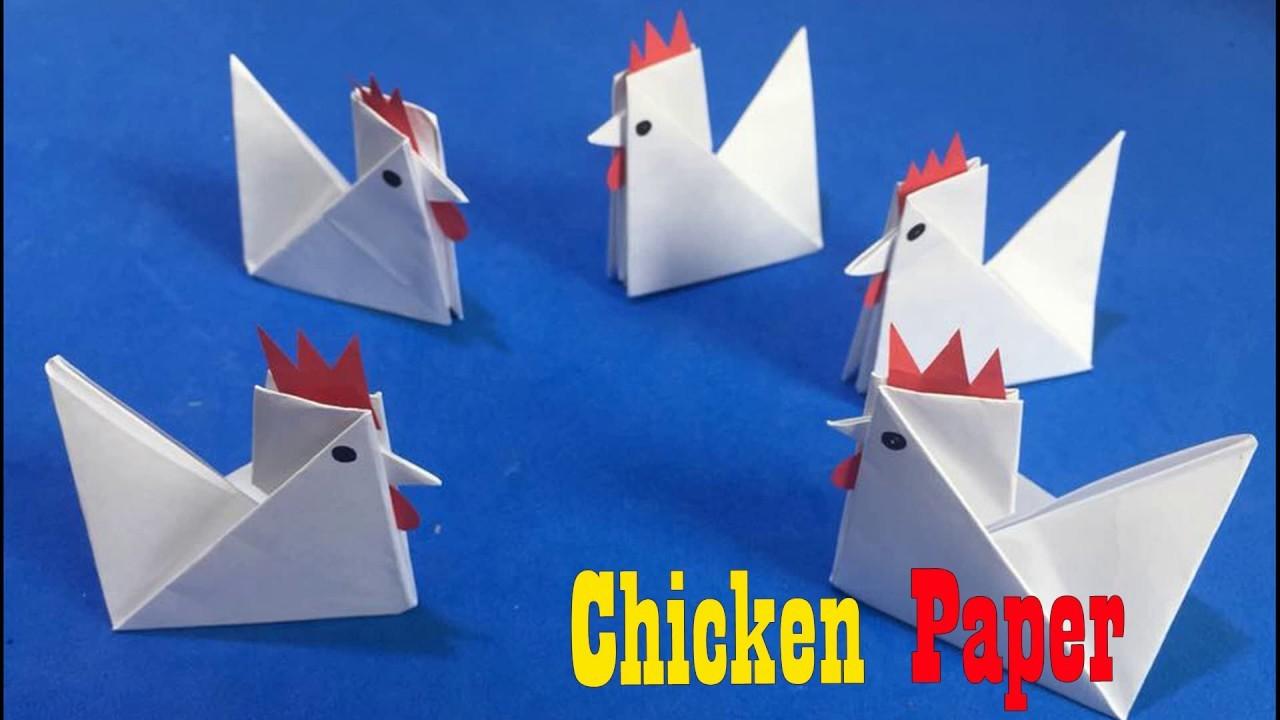Chicken Paper Craft For Kids, easy paper Chicken craft ideas step ...