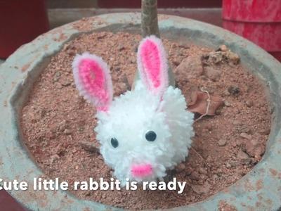 DIY cute little bunny rabbit | Pom pom rabbit | Easy craft for kids #craft #diy #rabbit#pompom#yarns