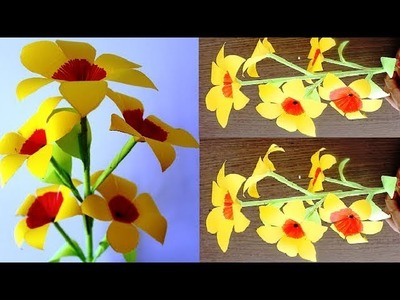 DIY - How to Make Beautiful Paper Stick Flower | DIY Hand Craft Ideas for Room | Paper Flower