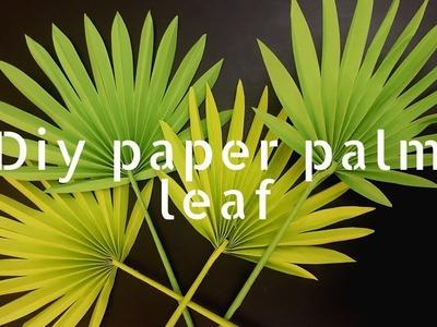 DIY paper palm leaf tutorial (paper craft, diy, paper leaf, home decor, fan palm leaf)