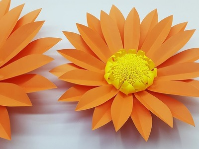 Giant Paper Flower Daisy Making Tutorial with Template | Paper Craft | DIY Paper Flowers