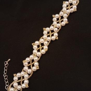 Handmade White Pearl Golden Bracelet