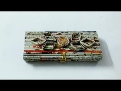 How to make a newspaper pencil box.DIY newspaper craft