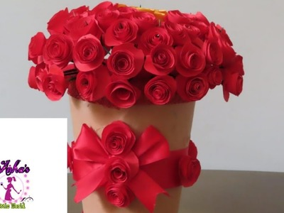 How To Make A Paper Flower Vase-DIY Simple Paper Craft