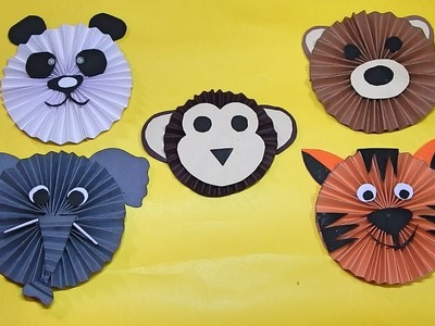 How to make cute animal faces using Paper (kids Craft)