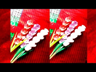 How to make paper craft flowers।  kagojer ful।