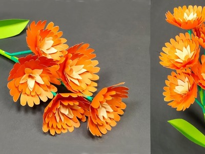 How to Make Paper Flower - Paper Stick Flower Making - Paper Craft Ideas - Abigail Paper Crafts