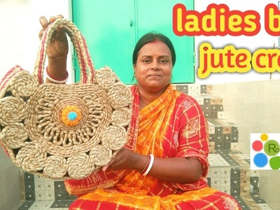 Ladies Hand Bag with braided jute rope ||Jute craft ||jute rope craft DIY