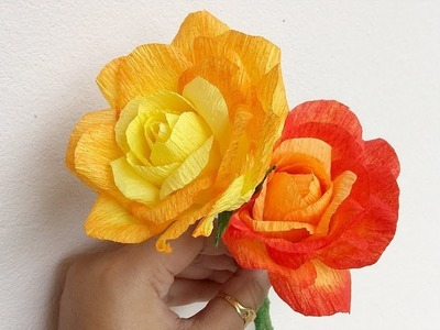 Paper Rose | Rose Making With Crepe Paper | paper craft flowers