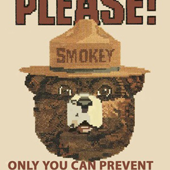 Smokey The Bear Cross Stitch Pattern***LOOK***X***INSTANT (DOWNLOAD)***